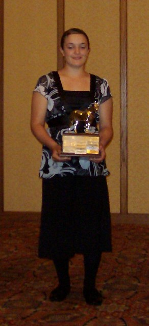 Maggie Bennun is Monty's owner, pictured here winning the Young horseman Award