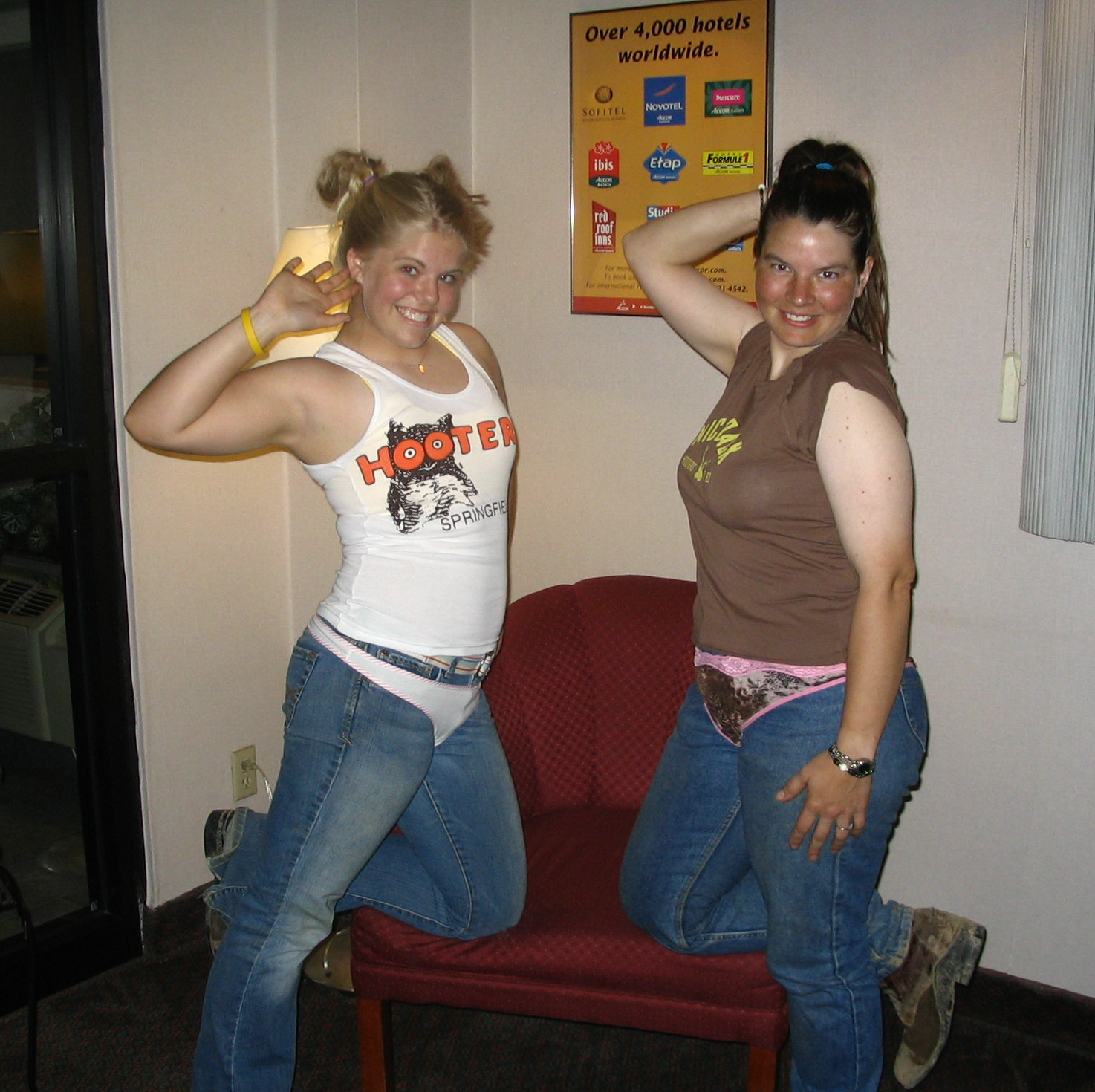 Ellen and Rachel are weirdos in the hotel lobby.  Photo credit: Mr. Hotel Rent-A-Cop