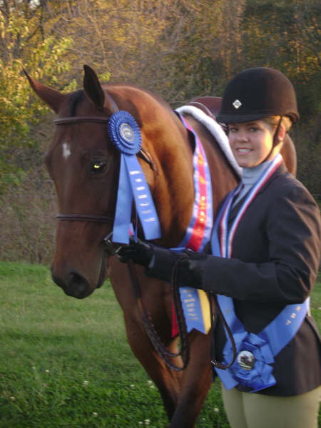 Ellen Reeder and her horse Eligible Bachelor after winning the Equitation Class Finals and MIHJA Medal Finals