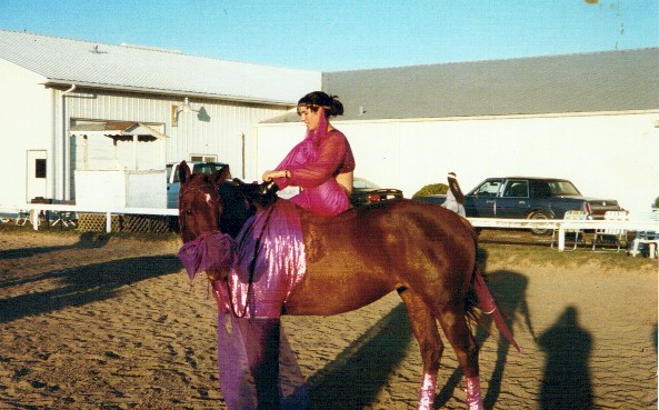 Ahna Norton and her horse Maggie as harem girls, 1999