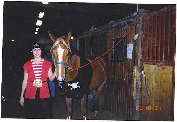 ARRRR!  Ahna Norton and her horse Sid as pirates, 1998