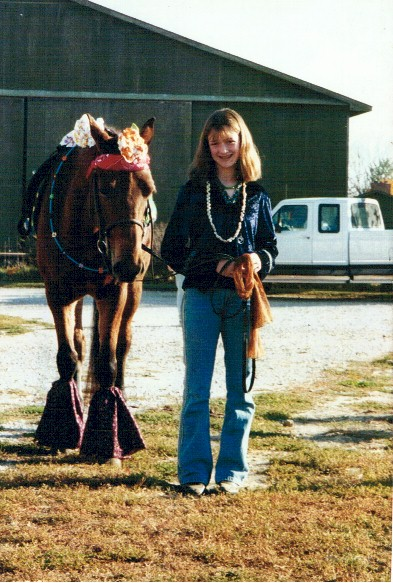 Ali Glenn and her horse Dollar as hippies, 1999