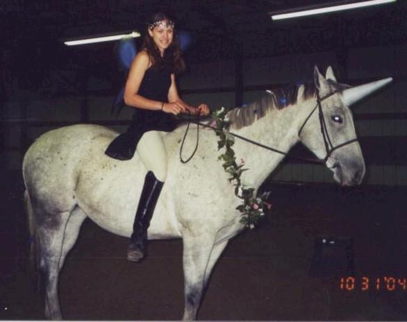 Amanda Duncan as a fairy with her horse Tempo the unicorn, 2004