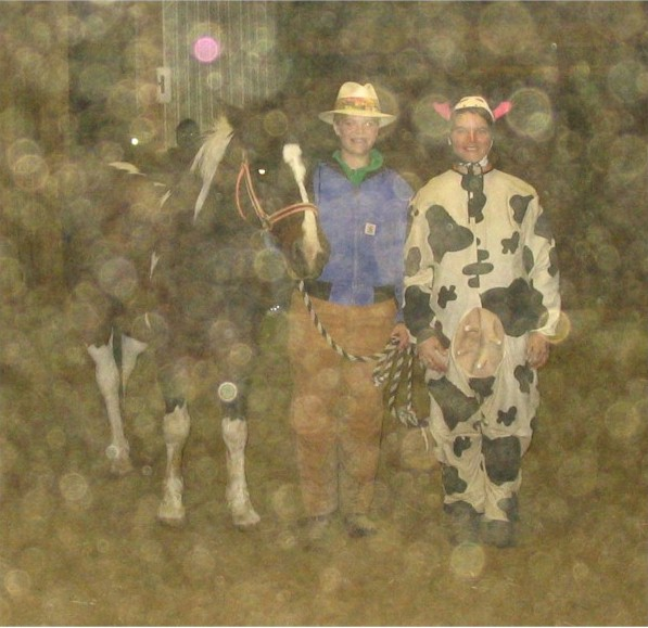 Ellen Reeder is a farmer out with her cows Rachel and Joey, 2005