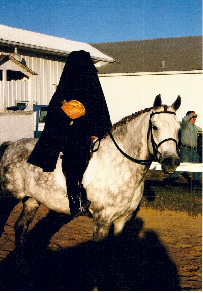 Emily Mitchell as The Headless Horseman with her pony Kirby as The Headless Horseman's Horse, 1999