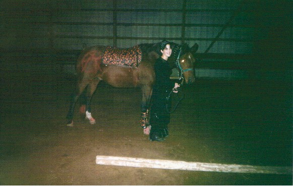 Hannah Bates and her pony Navarro do the punk goth thing, 2003