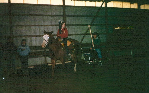 Lauren Swanson and Joanna Hagen with carousel horses Miles and Baxter, 2003