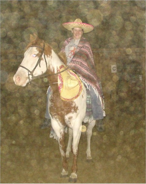 Katie Homrighausen and her horse Leggs go south of the border, 2005