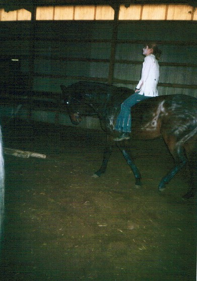Laura Siroky and her horse Trent as the walking dead, 2003