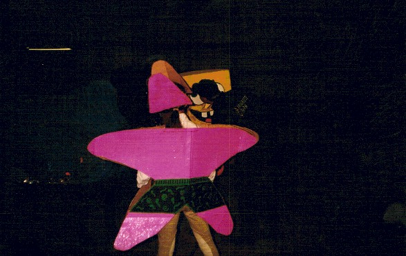 Lesley Quillen as Patrick the Starfish, (background) judge John Berkos gets a better look inside Bob's head, 2001