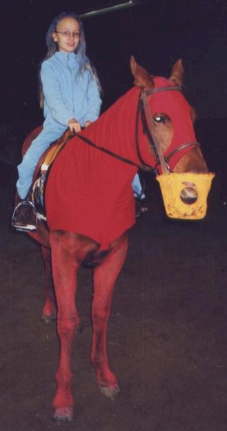 Mercedes VanOpdorp as Cookie Monster with her pony Elmo as Elmo, 2004