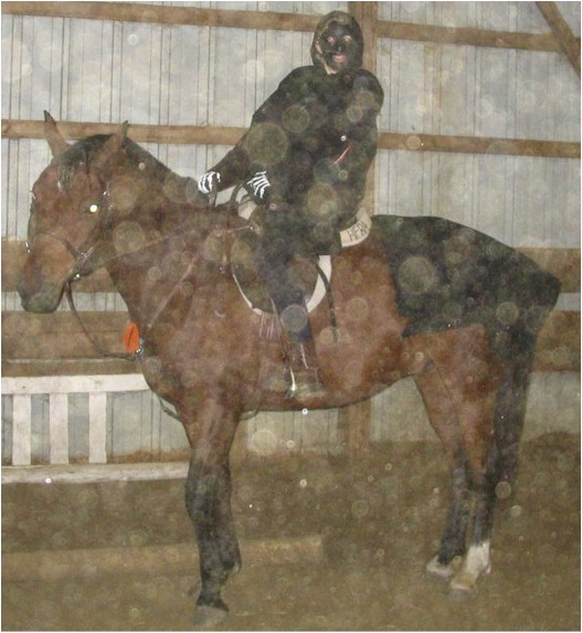 Sara VanIseghem as a ring wraith with Navarro as the spooky horse, 2005