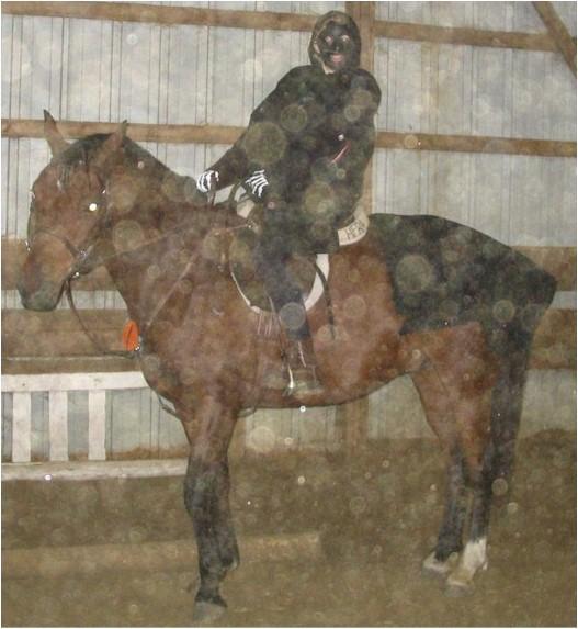 Sara VanIseghem as a ring wraith with Navarro as the spooky horse, 2005