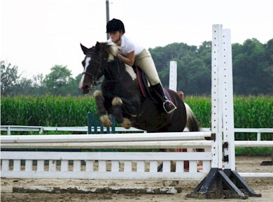 Hannah Bates riding Joey in a lesson, summer 2007