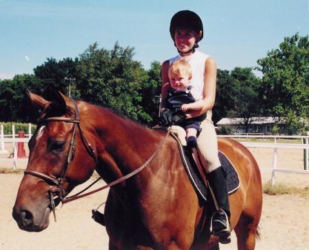 Even Monica's son Andrew enjoys riding Austin!
