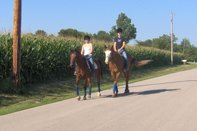 Sara and Megan take their horses to the trails