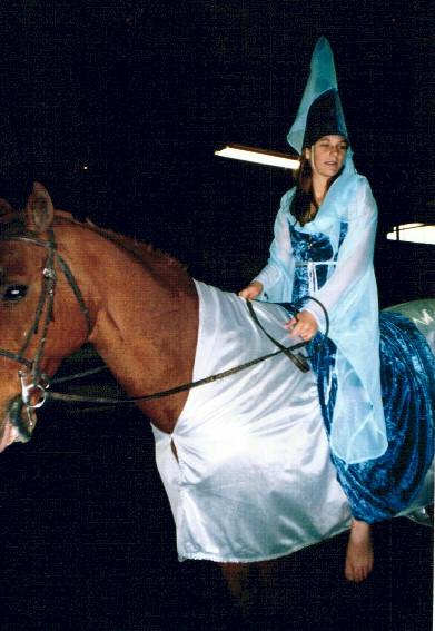 Holly Mohr as a princess, her horse Boozer as a medieval horse, 2002