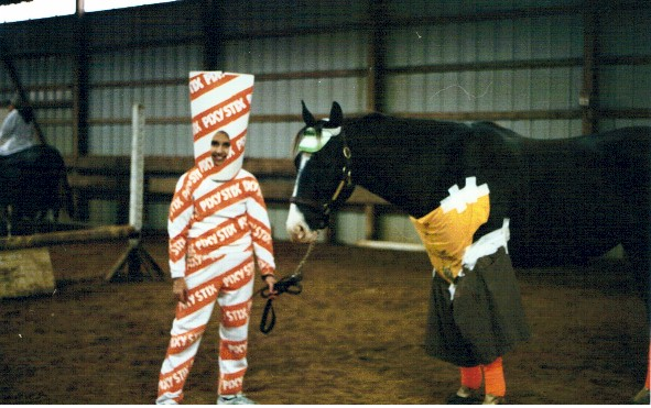 Molly Cordero as a pixy stick, her horse Donovan as a little boy, 2002