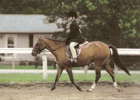 "Cathryn Bridges and her pony, Chasing Rainbows (""Melonie"")"